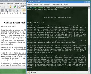 Antiword no terminal e documento aberto ao lado no koffice