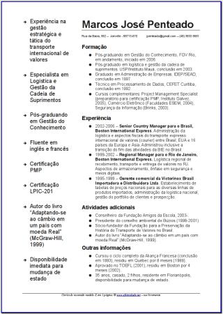 Exemplo De Curriculum Vitae Preenchido Em Ingles